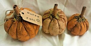 Fall Farmhouse Pumpkins Bowl Fillers Primitive Grunged Set Of Three