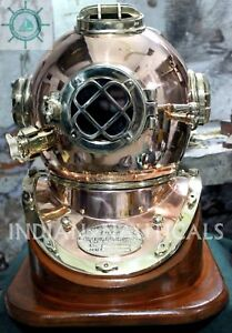 Morse Us Navy Diving Helmet Mark V Model Solid Copper Brass Antique Repoductio