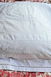 Antique French Hand Embroidered Mr Monogrammed Pillow Case Sham Lace Inserts