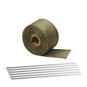 16ft 180 2 Titanium Exhaust Header Turbo Manifold Pipe Heat Shield Wrap Tape