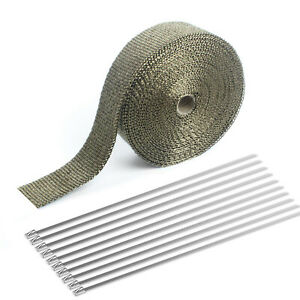 50ft 2 Titanium exhaust Header Turbo Manifold Pipe Heat Shield Wrap Tape ties