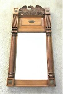 Antique Replica Cherry Wood Hand Carved Eagle Federal Period Mirror