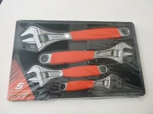 New Snap On 4pc Flank Drive Red Soft Grip Adjustable Wrench Set Fadh704a