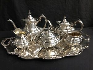 Reed And Barton Hampton Court Sterling Tea Set With Sterling Matching Tray