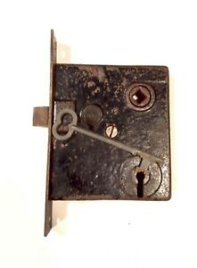 Antique Victorian Era Mortise Door Lock Latch W Skeleton Key Works Properly E