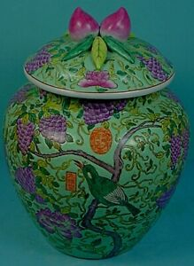 Vintage Chinese Famille Rose Porcelain Blue Green Ground Lidded Peaches Jar