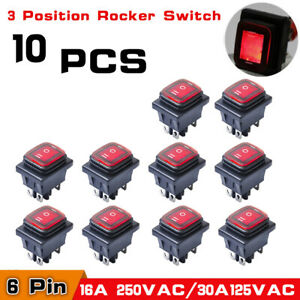 10 Dpdt Double Pole Double Throw 6pin On off on Red Led Rocker Switch Waterproof