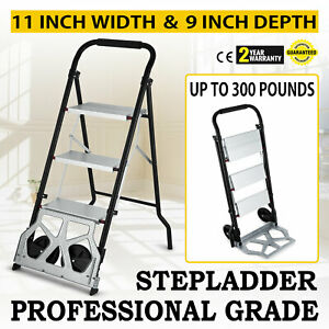 Hq 300lbs Step Ladder Hand Truck Warehouse Appliance Cart Collapsible Look