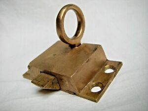 Nos Vintage Antique Cast Brass Ring Pull Window Transom Cupboard Latch