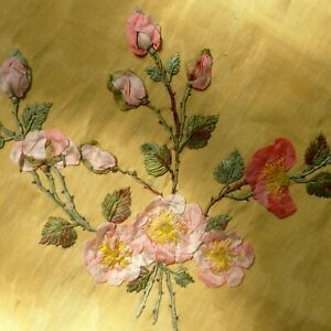 Antique French Silk Ribbon Work Embroidery Art Dyed Panel
