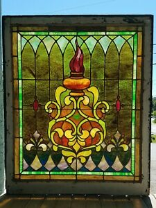 Large Victorian Stained Glass Window With Olympic Torch