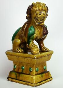 18th 19th C Antique Chinese Sancai Excellent Model Of A Male Guardian Lion