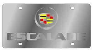 New Cadillac Mirrored Escalade Logo Stainless Steel License Plate