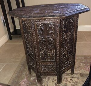 Circa 1900 Anglo Indian Octagonal Folding Base Antique Carved Teak Side Table