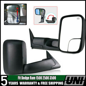 Tow Mirrors Pickup Flip Up Power Heated For 98 02 Dodge Ram 1500 2500 3500 Truck