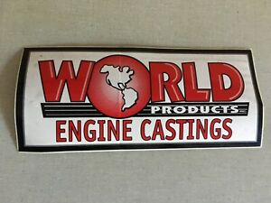Vtg World Products Hot Rod Decal Racing Car Nos Parts Head Engine Castings Block
