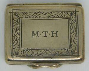 Antique Sterling Chased Marked Gorgeous Pill Box