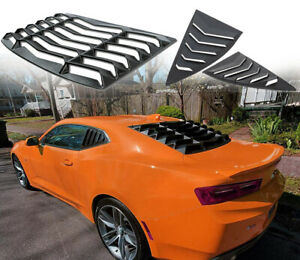 Fit 2010 2015 Chevy Camaro Rear Side Window Louvers Sun Shade Cover Shield Abs