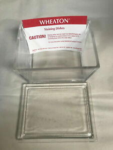 New Wheaton 900301 Glass Staining Dish With Lid Case Of 6 New