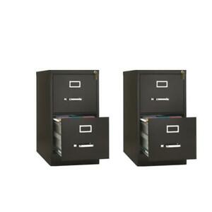Set Of 2 Value Pack Two Drawer Letter File Cabinet In Black With Lock