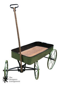 Early 1900s Primitive Antique Green Painted Childs Wagon Tin Wood Steel Wheels