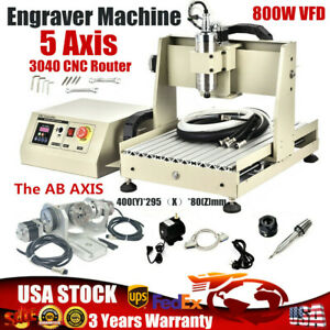 5axis Cnc 3040 Router Engraving Machine Engraver Milling Drilling Cutting 800w