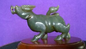 Nice Dark Green Color Nephrite Ox Dragon Statue Qing Dy 5 1 4 Long