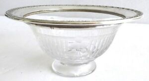 Antique Watson Sterling Silver Carved Crystal Glass Gravy Sauce Bowl B555