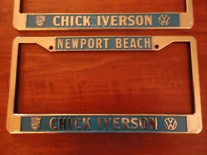 1 Vw Chick Iverson Newport Beach Dealer License Plate Frame Blue Metal New