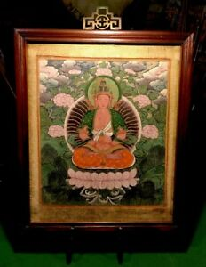 Rare Antique Chinese Oil Painting 18th Century Buddha On Silk Original Frame