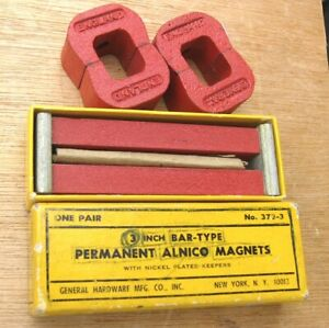 Lot Of 4 Alnico 5 Horseshoe Power Magnets 2 Oz Each 2 Bar Magnets General