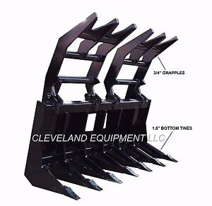 New 72 Severe duty Root Grapple Rake Attachment Skid steer Loader Brush Log 6