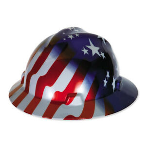 Msa 10071157 Full Brim V gard Hard Hat W american Stars Stripes Freedom Series
