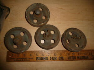Set 4 Vtg Industrial Caster Set Iron Metal Factory Cart Safe Wheels Orig Paint
