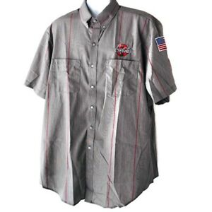 Coca Cola Embroidered Grey And Red Striped Button Down Shirt Size 2XL