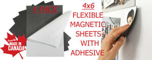 4 Pack 4 X 6 X 30mil Flexible Self adhesive Magnetic Sheets Peel Stick
