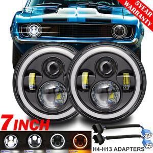 2x 7 Inch Led Headlights Halo Angel Eyes Drl Hi Lo Dot Lamp For Chevrolet Camaro