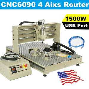 4 Axis Usb Cnc6090 Router Engraver 1 5kw Spindle Milling Machine 600x900mm