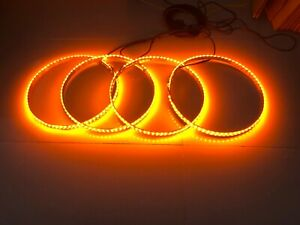 15 5 pure Color Amber Led Car Wheel Rings Light Switch Ctrl 14 Flash Patterns
