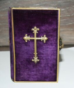 Antique 1873 German Catholic Bible Book Felt Cover W Brass Clasp