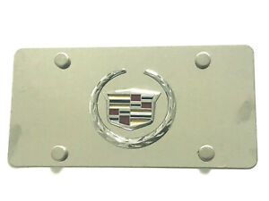 Chrome Silver Stainless Steel License Plate Scews Caps For Cadillac Emblem