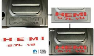 2019 Ram Hemi 5 7l V8 Engine Cover Overlay Decal Stickers