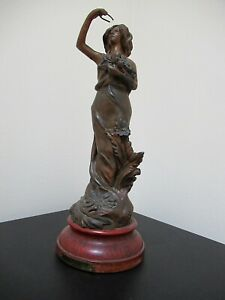 Antique French Art Nouveau Spelter Metal Statue Marguerite By Ruchot Signed