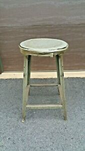 Vtg Hallowell Metal Industrial Factory Machinist Drafting Angle Iron Stool 24