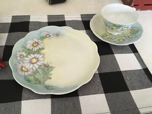 Vintage 8 Plate Decorative Hand Painted Daisy Bone China W Cup And Saucer