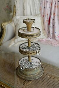 Rare Antique Vintage Four Tier wedding Cake Jewelry Accessory Display Stand