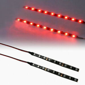 2x Red Bright 6 Inch 9 Led Waterproof Flexible Light Strip Black Pcb Board