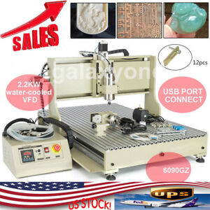 4 Axis 6090 Usb 2 2kw Vfd Cnc Router Engraver 3d Engraving Drill milling Machine