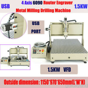4 Axis Usb Cnc 6090 Router 1 5kw Vfd Engraver Engraving Milling drilling Machine