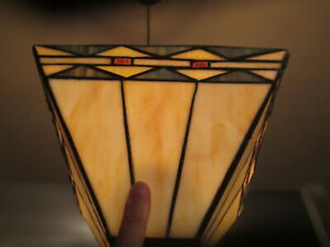 Vintage Mission Style Leaded Stained Glass Lamp Shade Arts Crafts